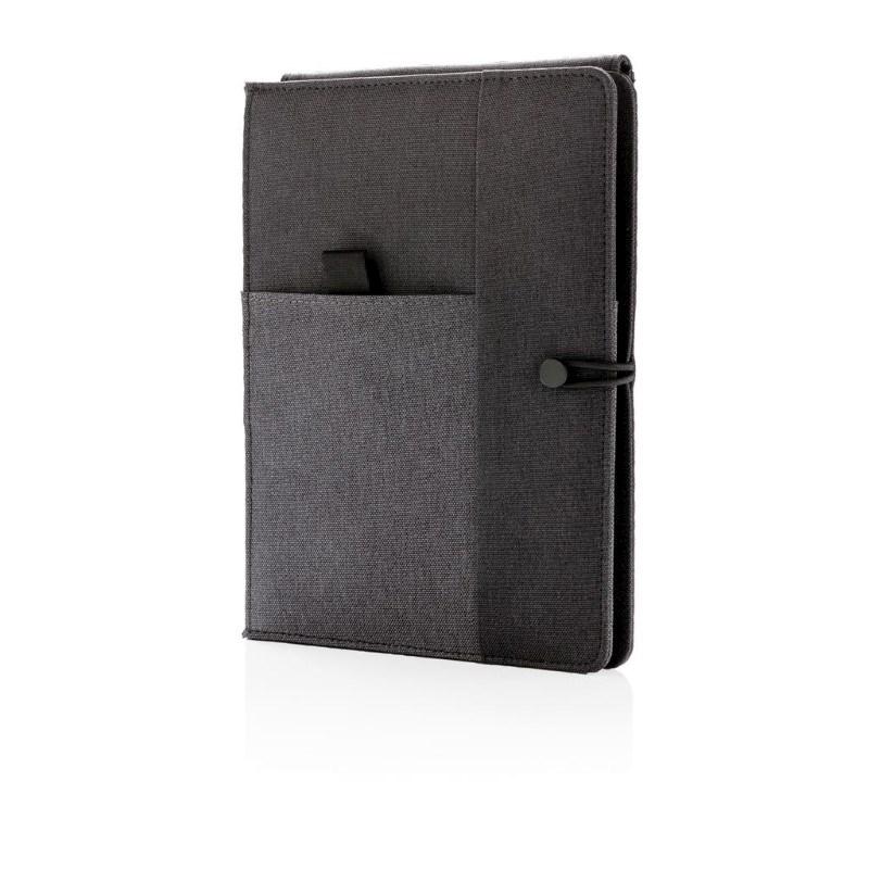Kyoto notitieboek met 5W draadloze 4.000 mAh powerbank, zwar