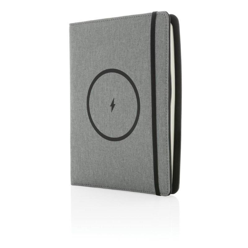 Air 5W rPET A5 notitieboek omslag met draadloos opladen, gri