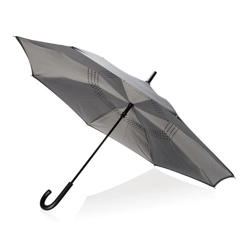 """23"""" handmatig reversible paraplu, grijs"""