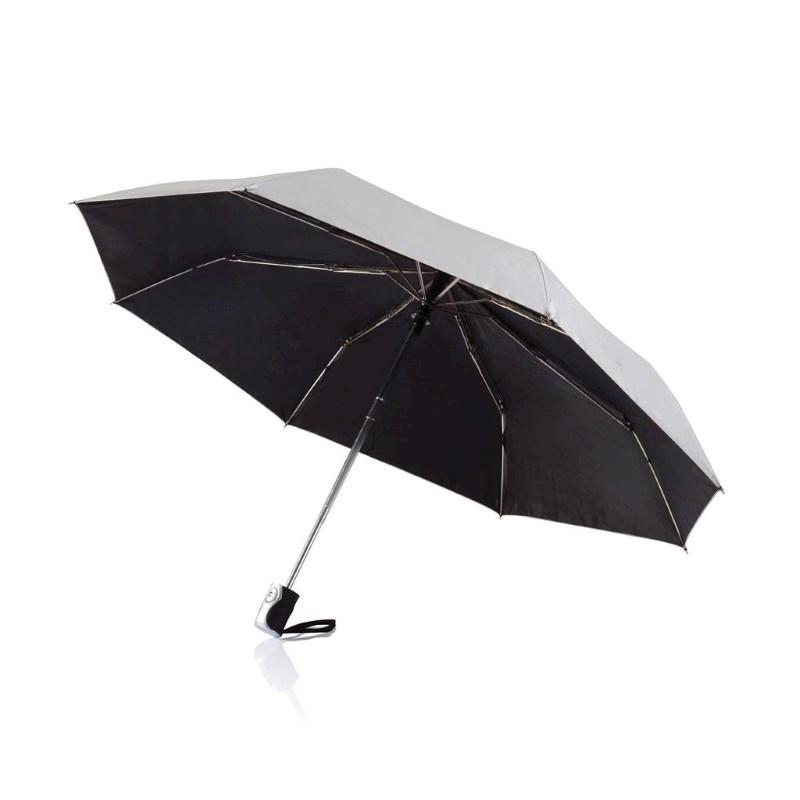 """Deluxe 21,5"""" 2-in-1 automatische paraplu, zilver"""