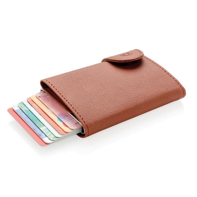 C-Secure aluminium RFID kaarthouder & portemonnee, bruin