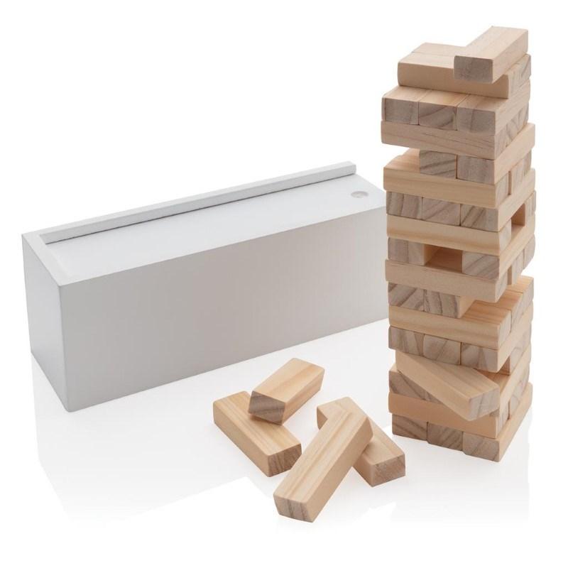 Deluxe houtblok stapelspel, wit