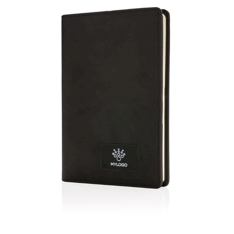 Voorgegraveerd Light up logo notitieboek, zwart